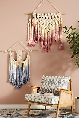 Slide View: 3: Dip-Dyed Macrame Woven Wall Art