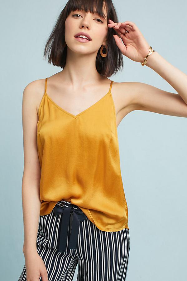 Britt Silk V-Neck Cami - Gold, Size M
