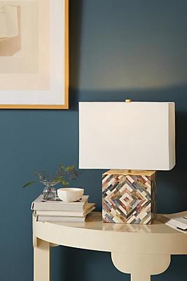 Slide View: 1: Tiled Inlay Lamp Ensemble