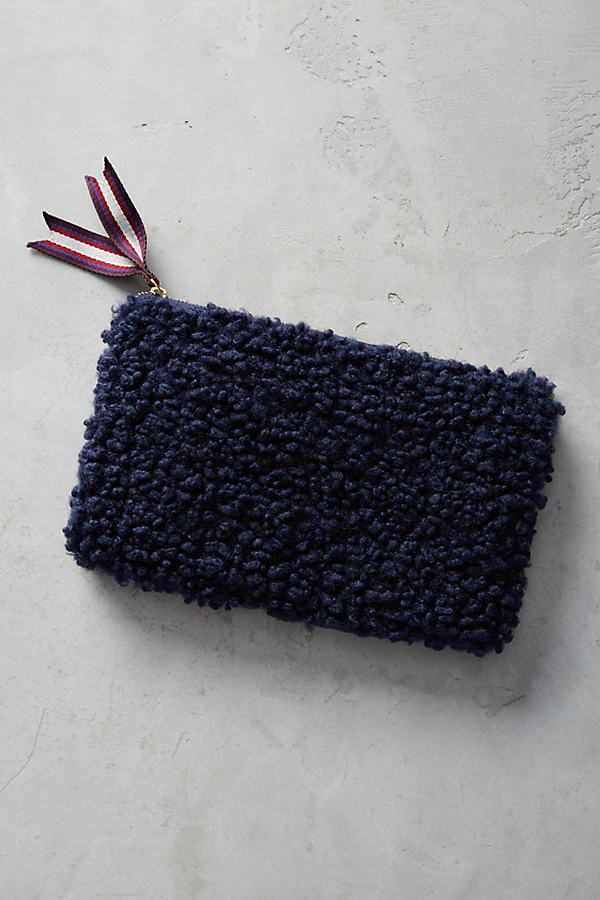 Shearling Clutch - Blue