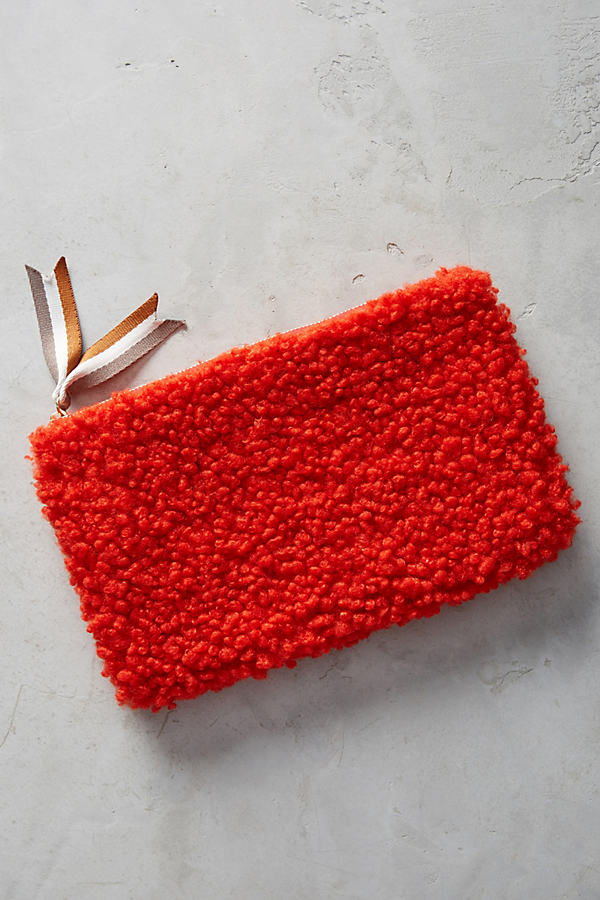 Shearling Clutch - Red