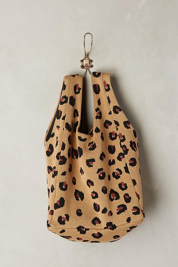 Cheetah Print Shopping Tote - Cream