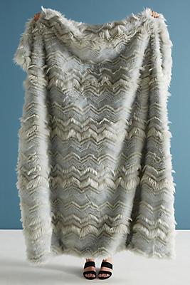 Slide View: 1: Chevron Faux-Fur Throw Blanket