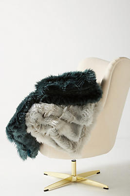 Slide View: 3: Chevron Faux Fur Throw Blanket