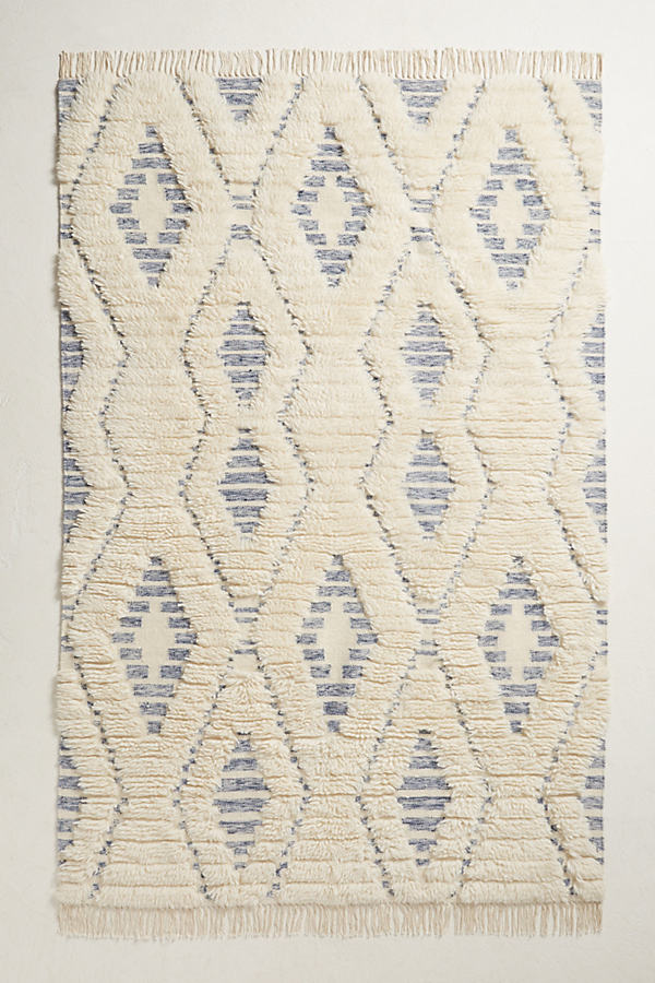 Striped Diamond Rug - Neutral Motif, Size 4 X 6