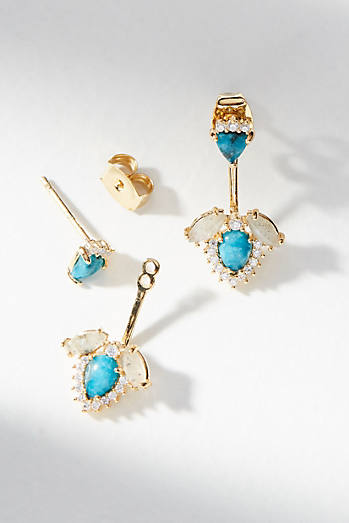 Turquoise Front-Back Post Earrings