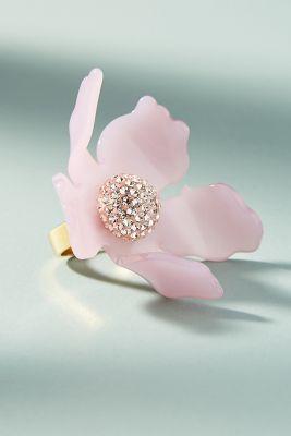 Lele Sadoughi   Crystal Lily Ring  -    PEACH