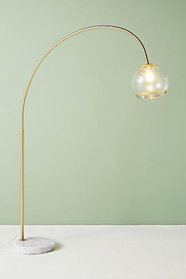 Slide View: 1: Arched Glass Floor Lamp