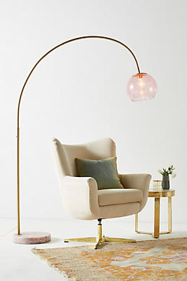 Slide View: 1: Rose Arched Glass Floor Lamp