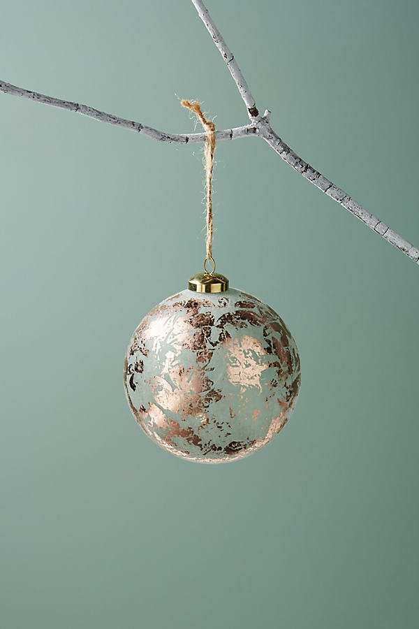 Flocked Glass Ornament - Grey