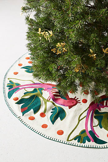 Embroidered Pheasant Tree Skirt