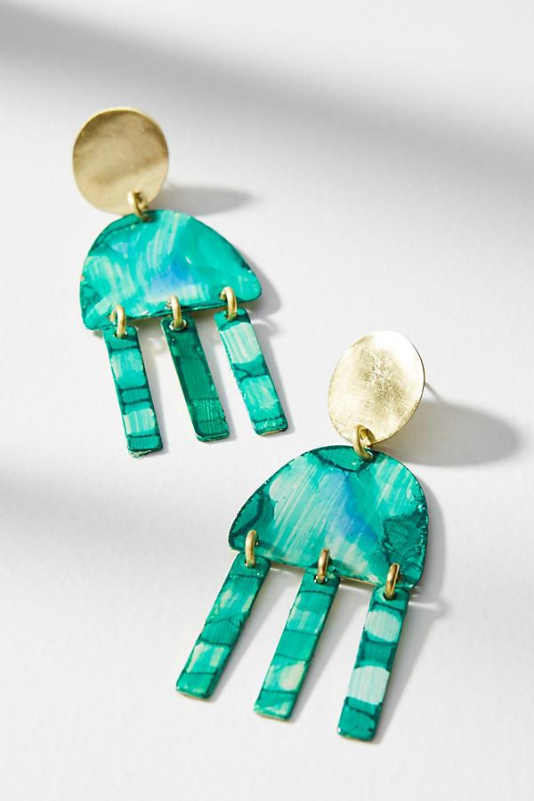 Mixed Metallic Fringe Earrings - Green