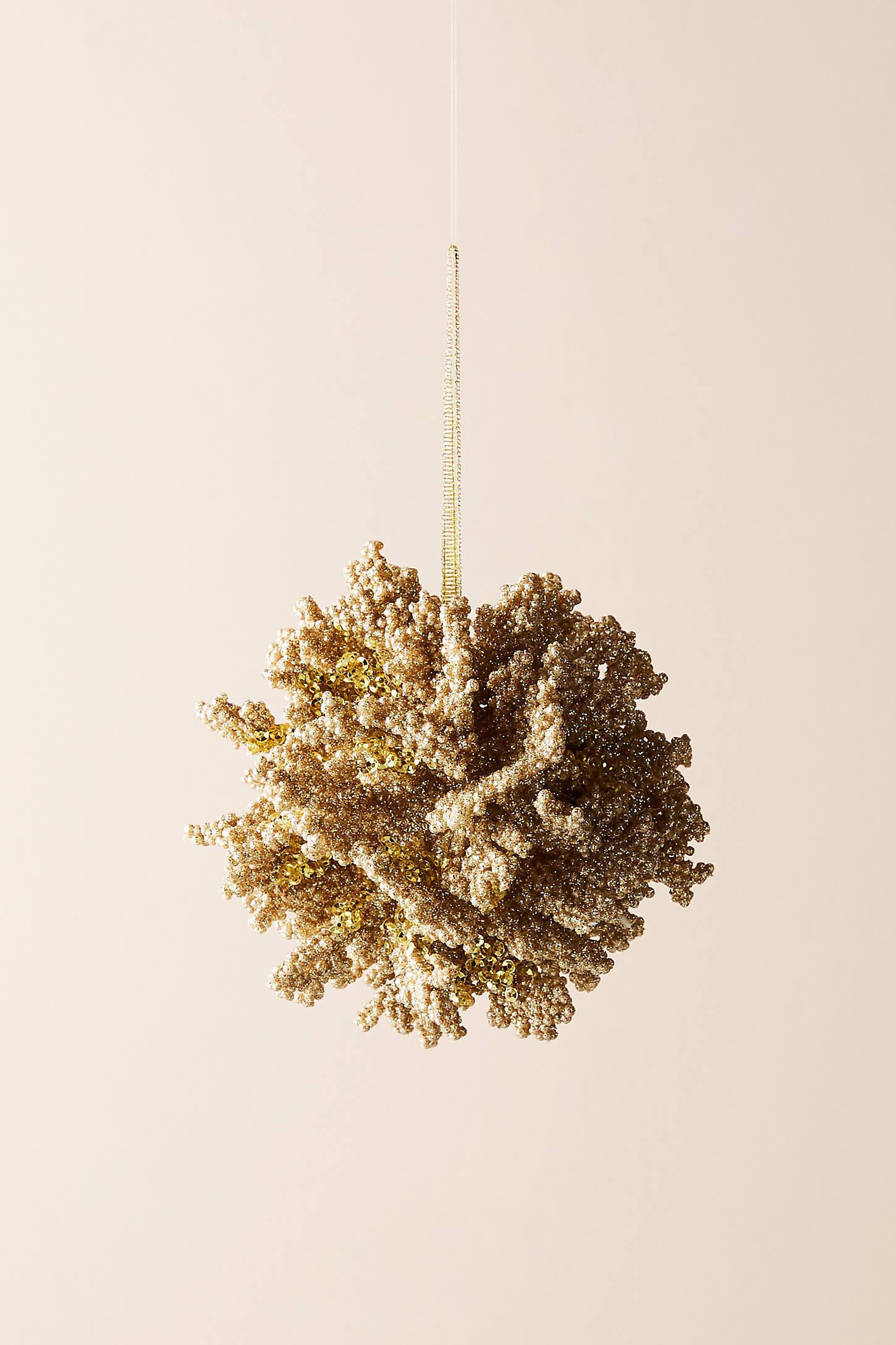 Glittered Coral Ornament