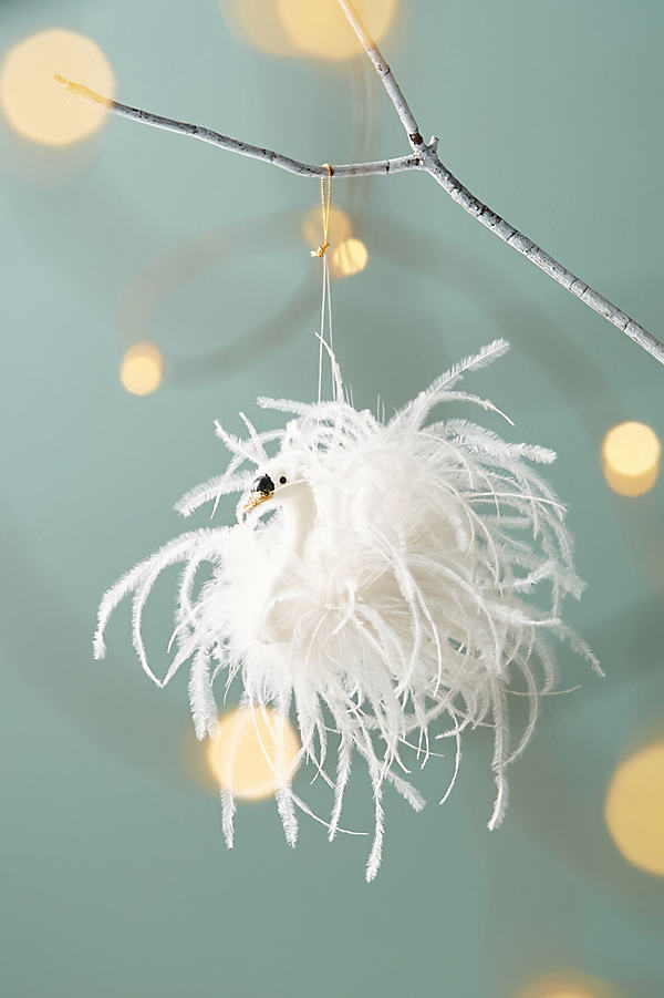 Swan Feathers Ornament - White
