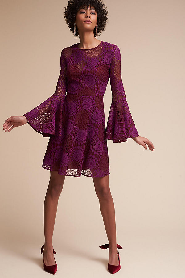 Maynard Lace Flute Sleeve Dress - Medium Pink, Size Uk 8