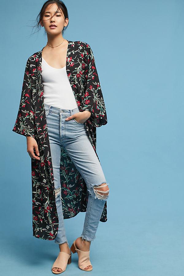 Aster Floral Kimono - Black