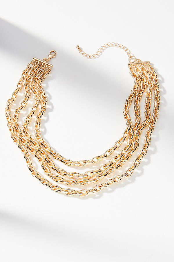 Slide View: 2: Braided Chains Collar Necklace
