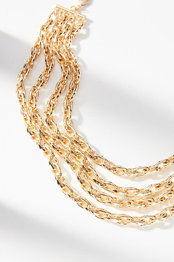 Slide View: 1: Braided Chains Collar Necklace