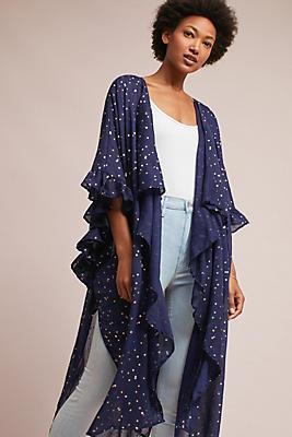Slide View: 1: Ruffled Galaxy Kimono