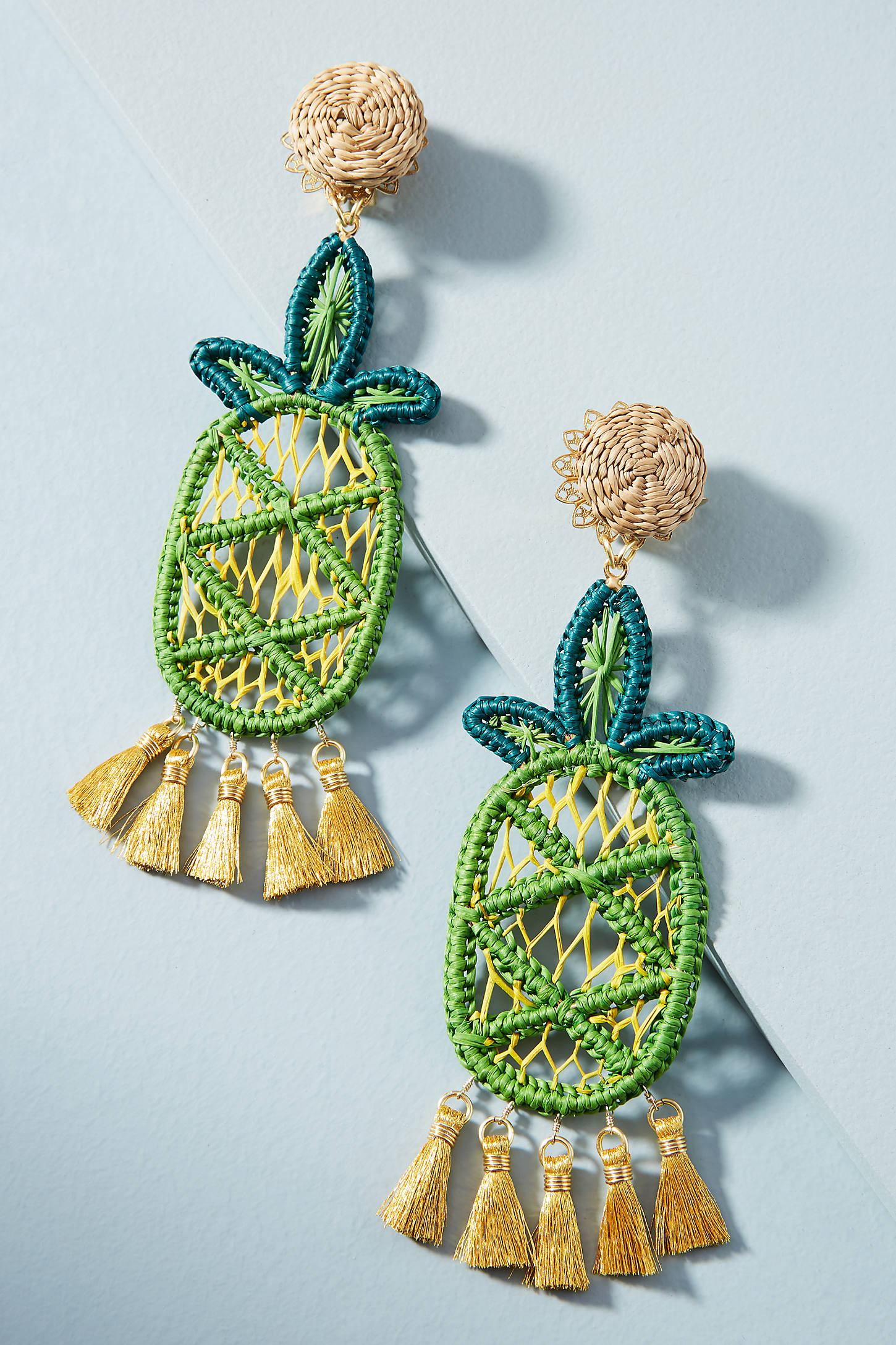 Woven Pineapple Drop Earrings