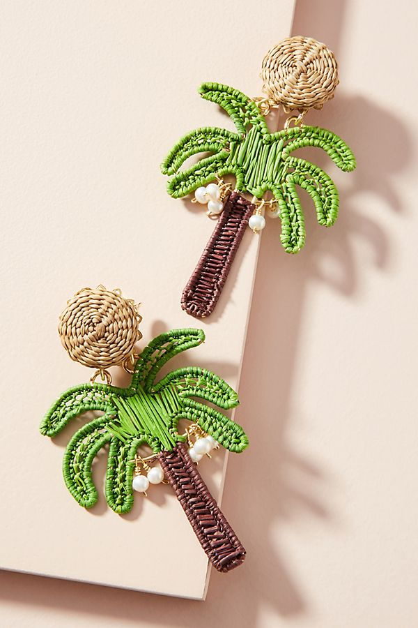 Woven Palm Tree Drop Earrings