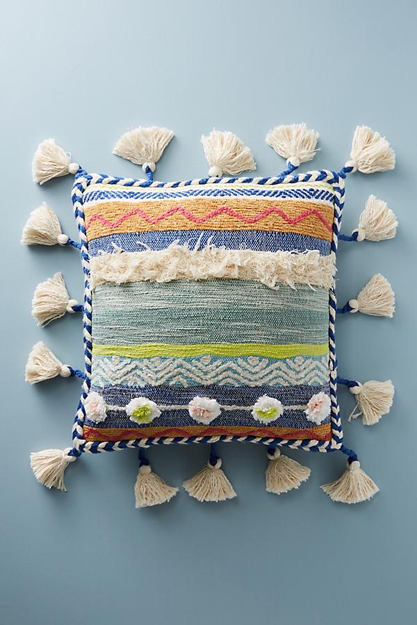 Woven Rami Cushion - Blue Motif
