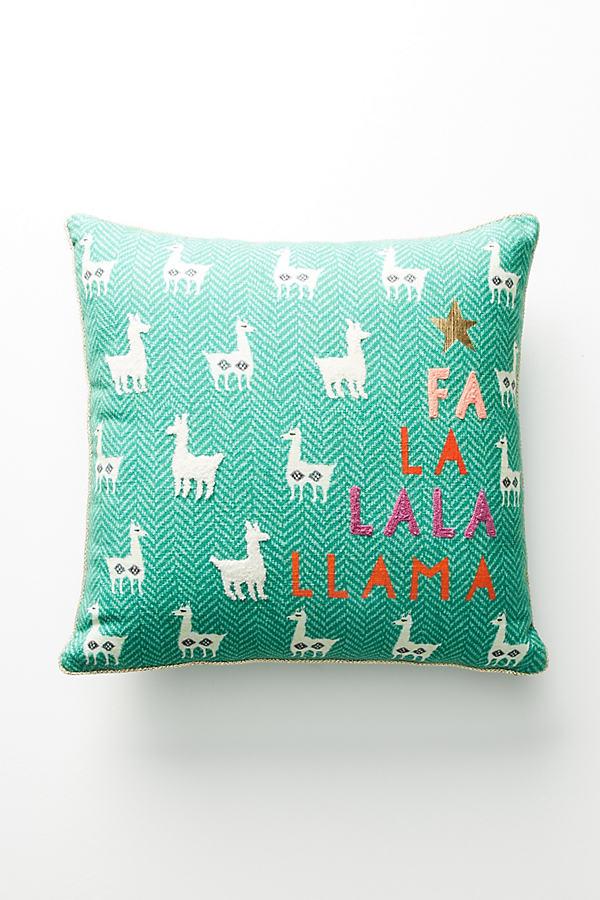 Fa La Llama Pillow - Green