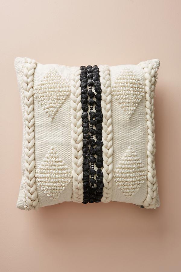 Braided Bobble Cushion - Ivory