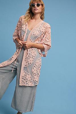Slide View: 1: Dusty Rose Lace Kimono