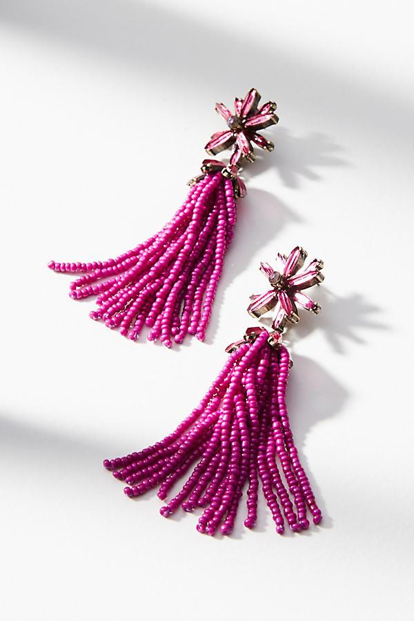 Monet Tassel Drop Earrings - Pink