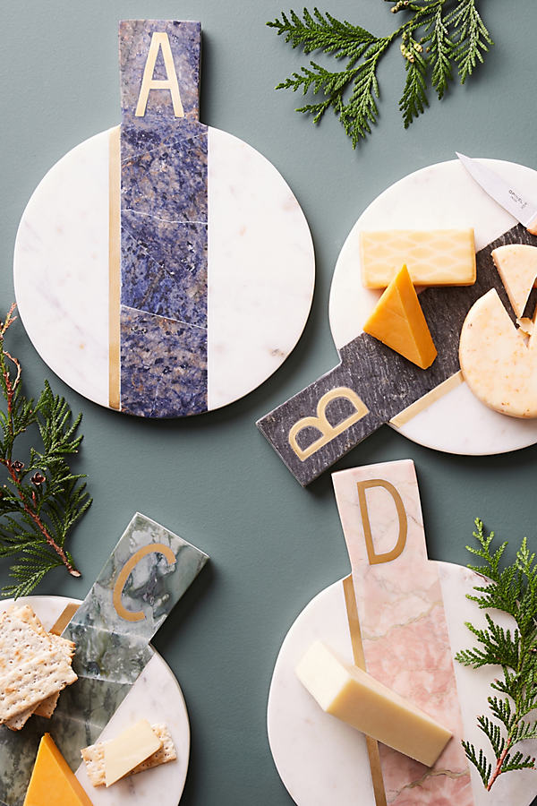 Marbled Monogram Cheese Board - A, Size J