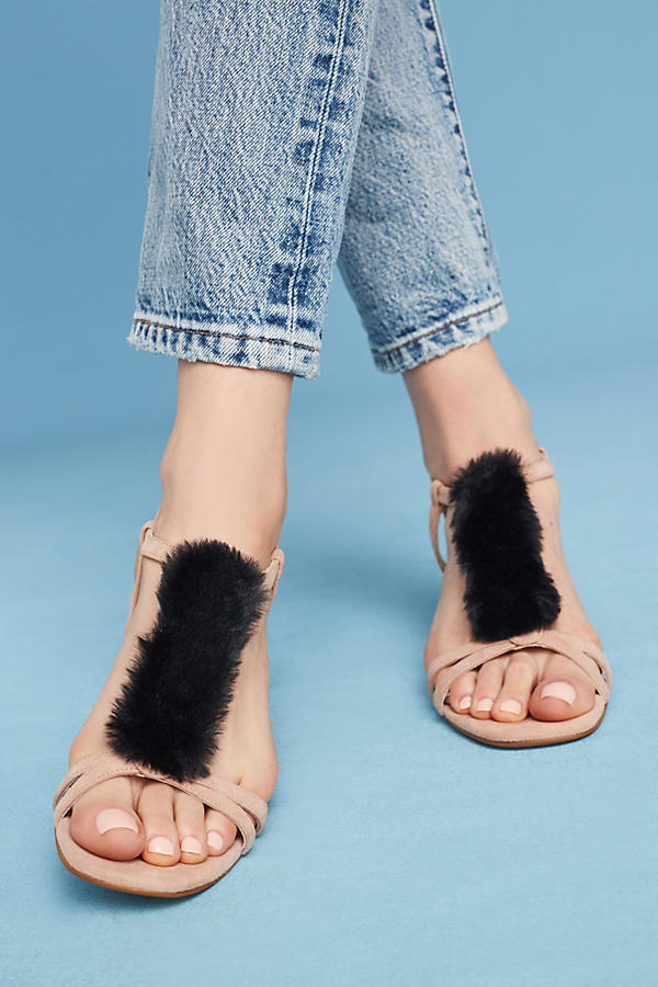 Slide View: 2: Casper Faux-Fur T-Bar Heels