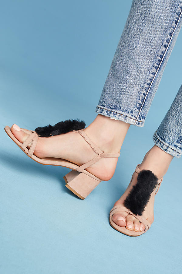 Slide View: 3: Casper Faux-Fur T-Bar Heels