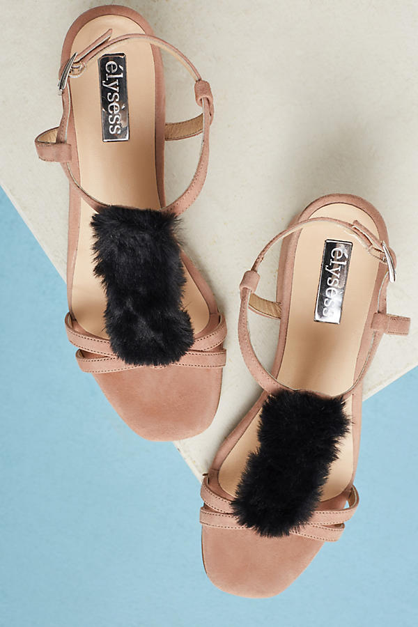 Slide View: 5: Casper Faux-Fur T-Bar Heels