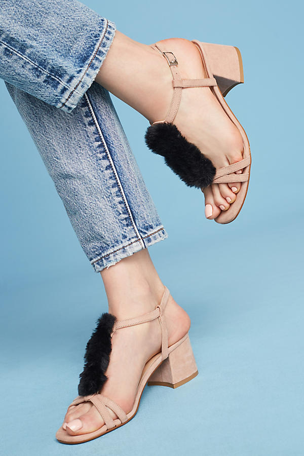 Slide View: 1: Casper Faux-Fur T-Bar Heels