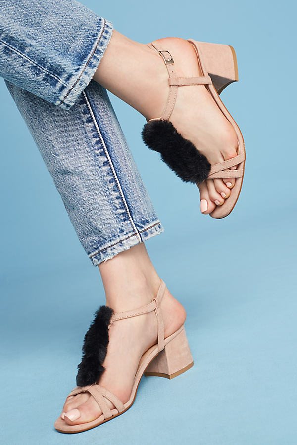 Casper Faux-Fur T-Bar Heels - Pink, Size 38