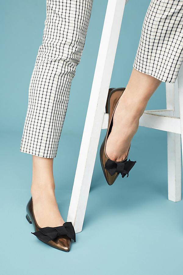 Elysess Bow Ballet Flats - Gold, Size 41