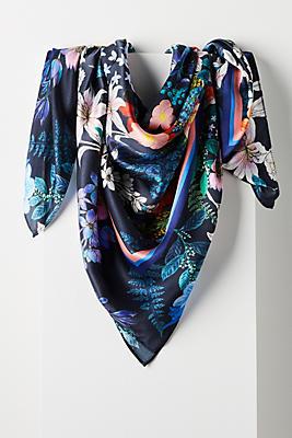 Slide View: 3: Stripe & Floral Silk Scarf