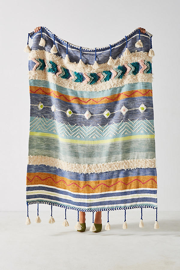 Woven Darrah Throw Blanket - Blue