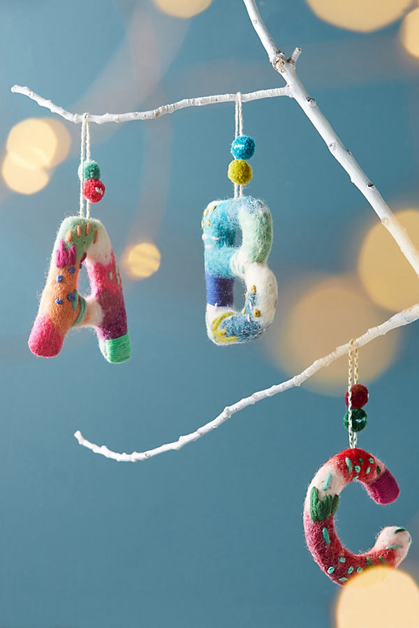 Felted Monogram Ornament - A, Size S