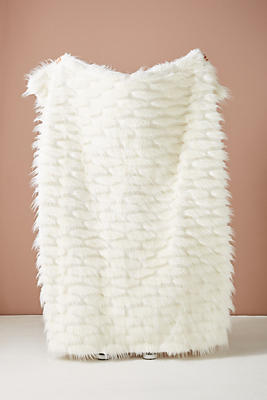 Slide View: 1: Feathered Faux Fur Throw Blanket