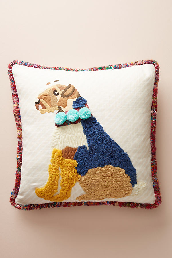 Embroidered Rufus Pillow - Ivory
