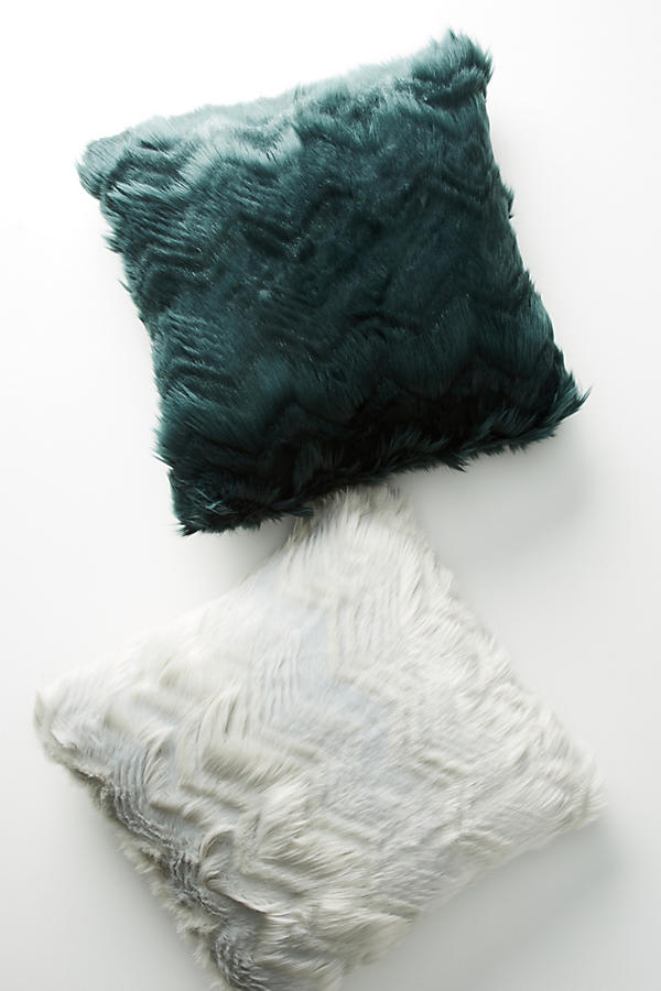 Slide View: 1: Chevron Faux Fur Pillow