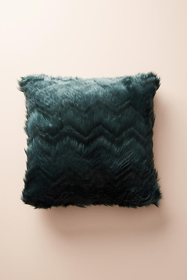 Slide View: 3: Chevron Faux Fur Pillow