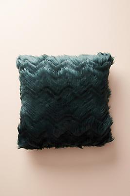 Slide View: 1: Chevron Faux Fur Pillow