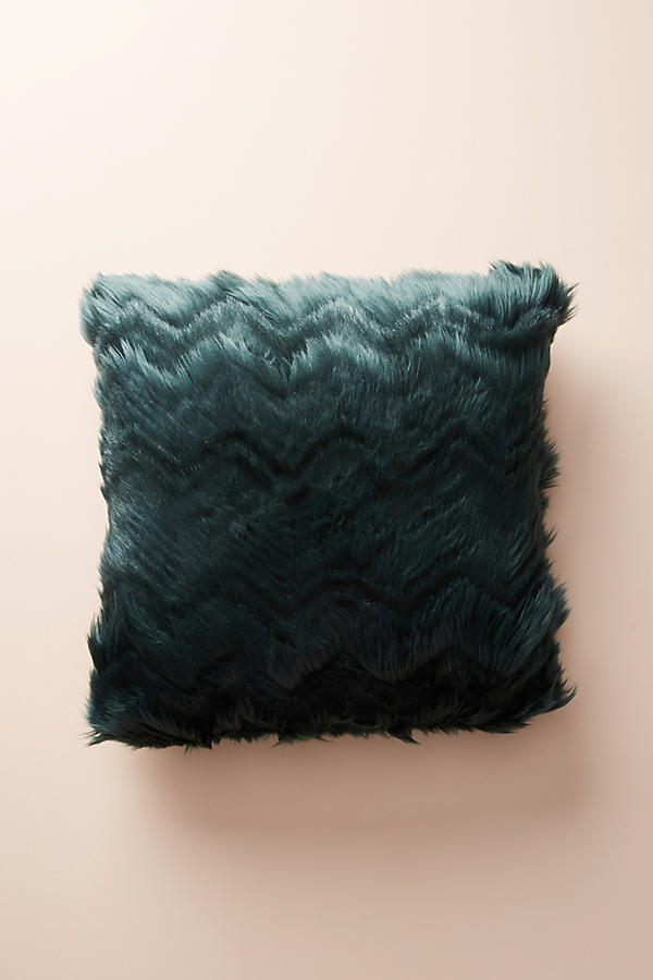 Slide View: 2: Chevron Faux Fur Pillow