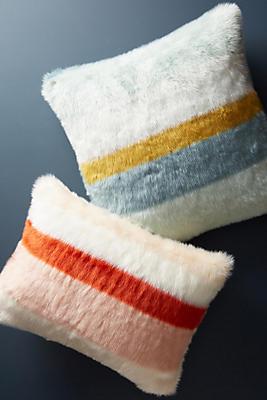 Slide View: 3: Striped Faux Fur Pillow