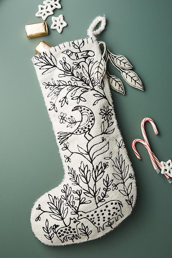 Stitched Scene Stocking - White