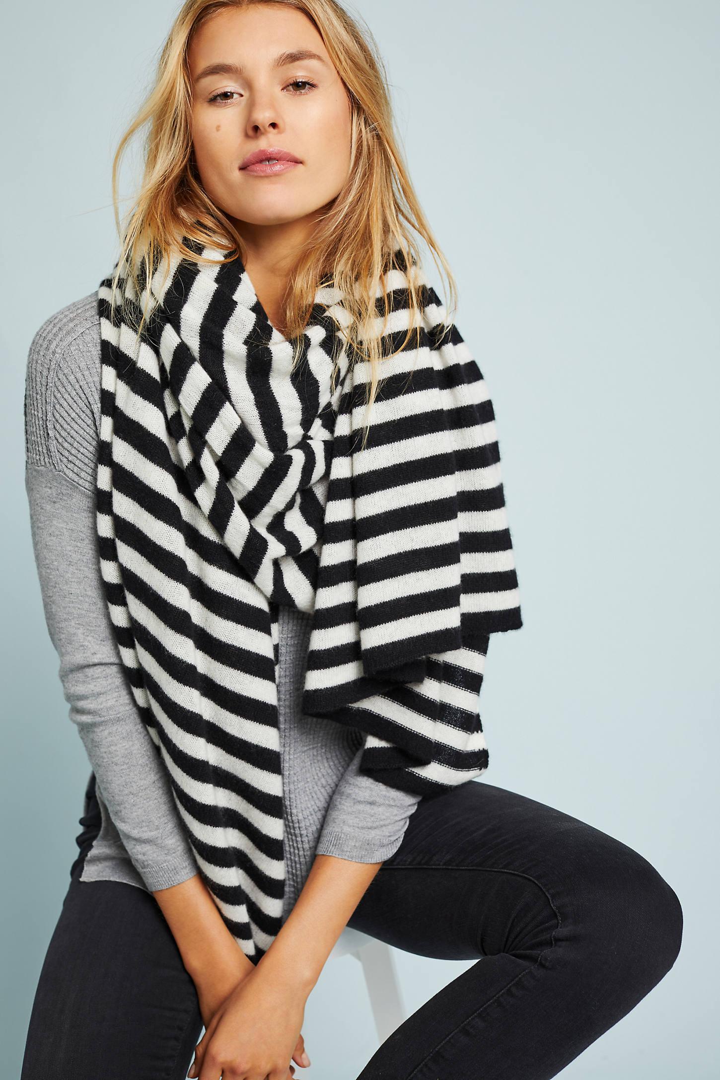 Striped Cashmere Wrap Scarf
