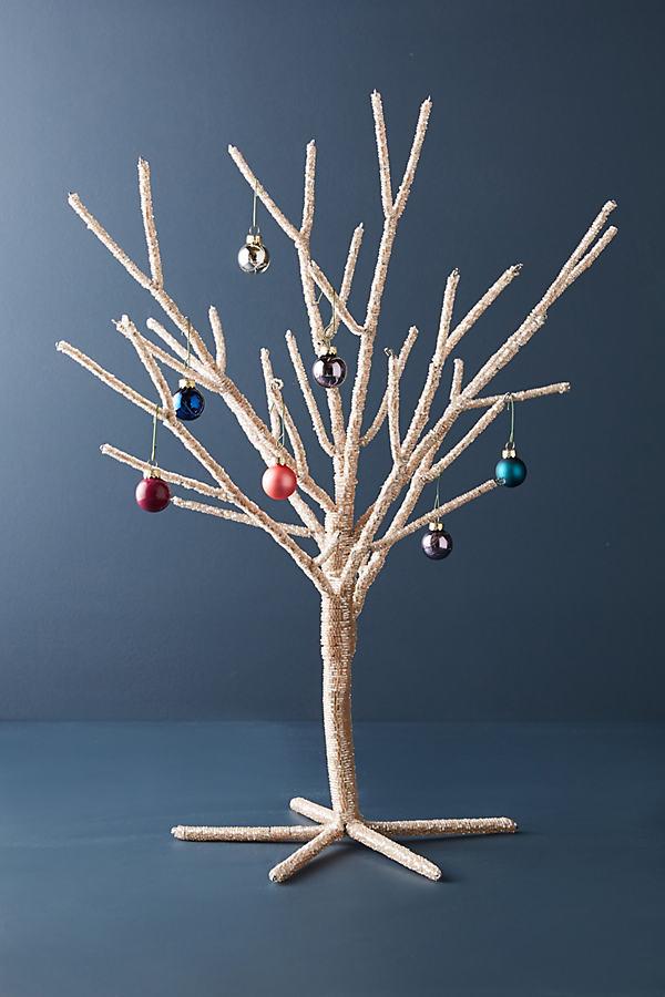 Beaded Bark Decorative Tree - Rose
